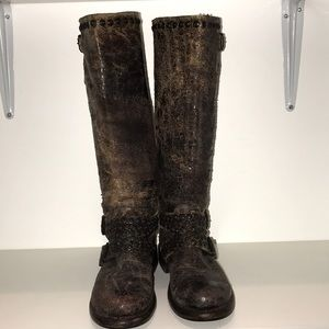 FRYE distressed snakeskin boots